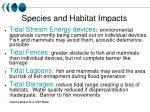 species and habitat impacts