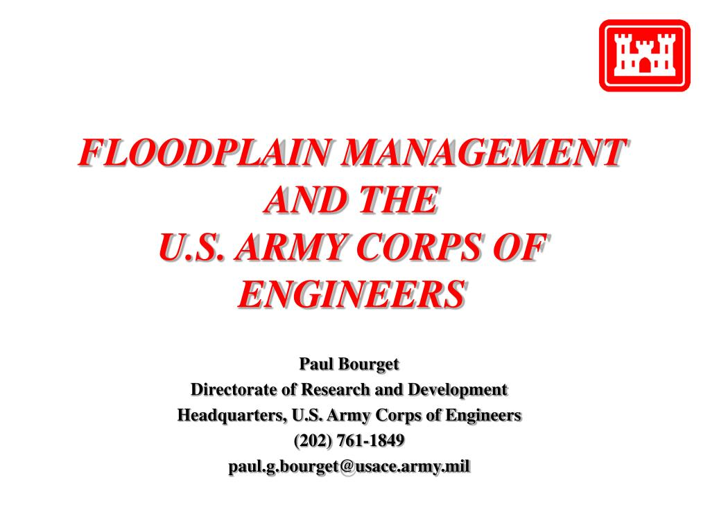 floodplain management and the u s army corps of engineers l.
