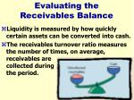 evaluating the receivables balance