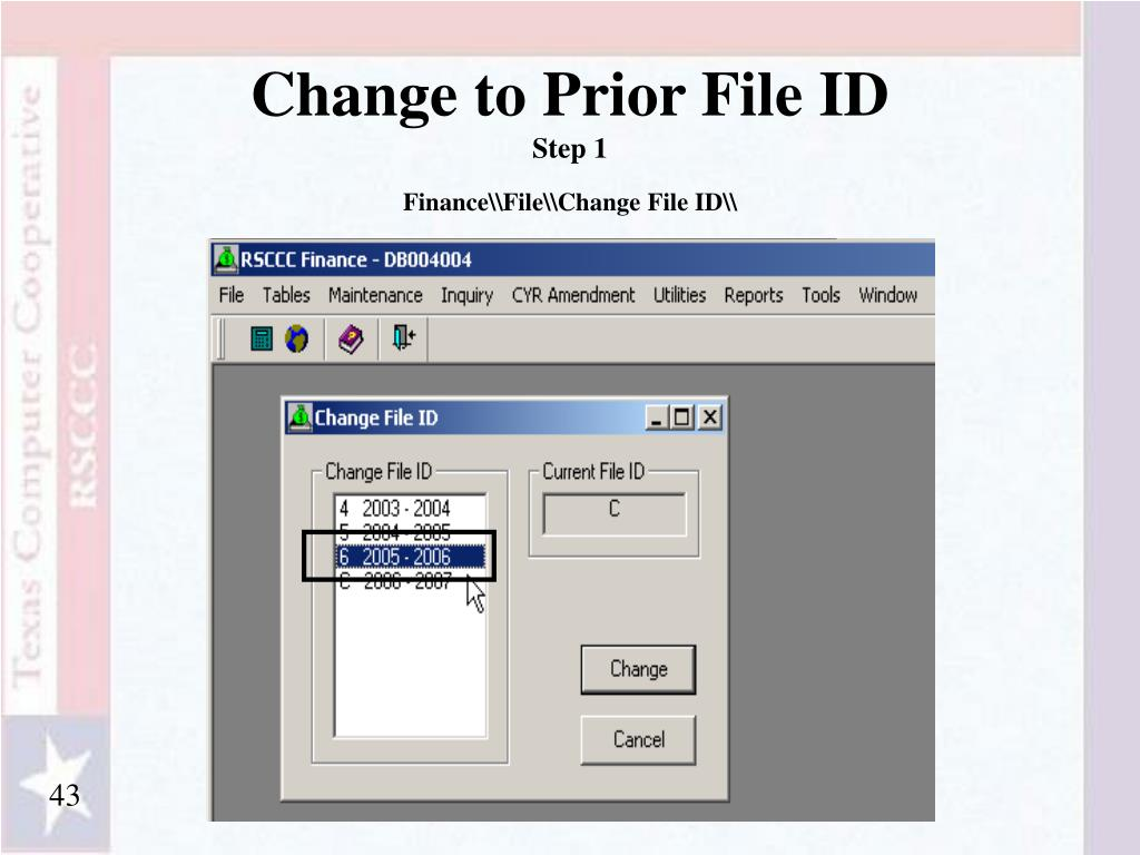 Change to Prior File ID