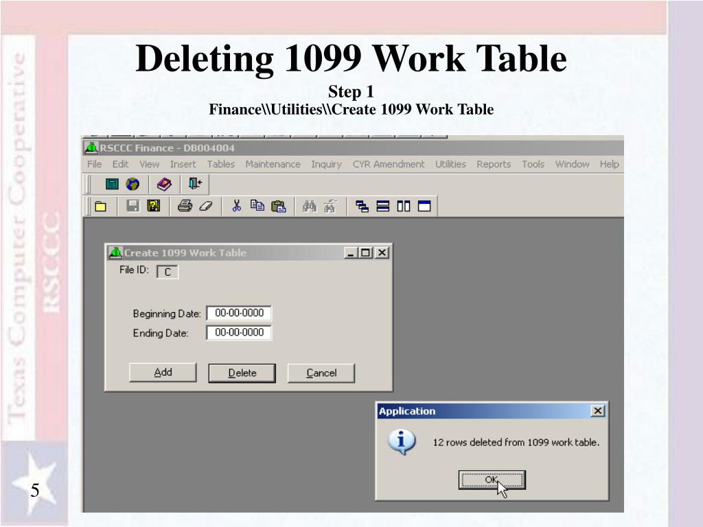 Deleting 1099 Work Table