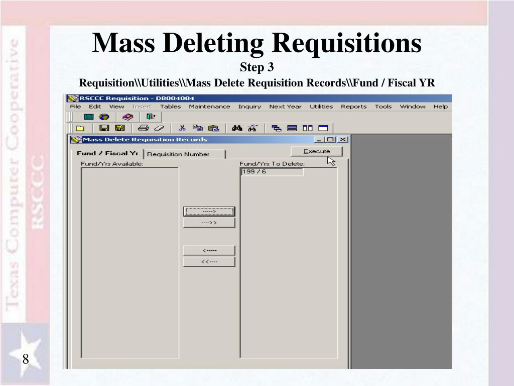 Mass Deleting Requisitions