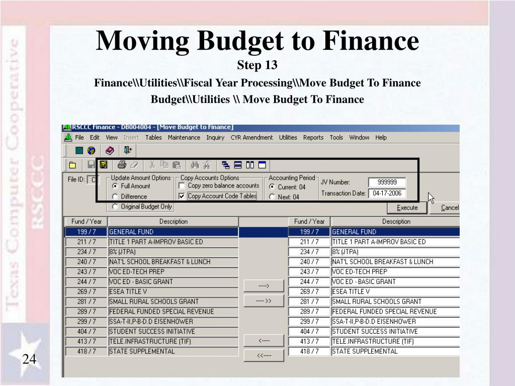Moving Budget to Finance