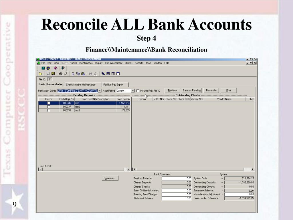 Reconcile ALL Bank Accounts