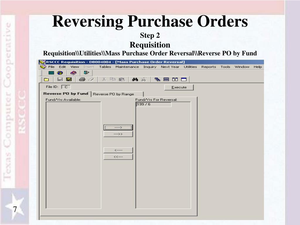 Reversing Purchase Orders