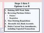 steps 1 thru 5 options a or b