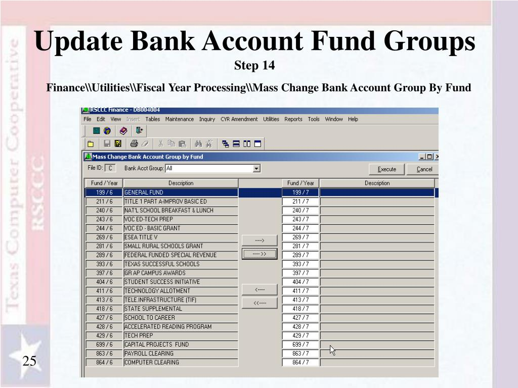 Update Bank Account Fund Groups