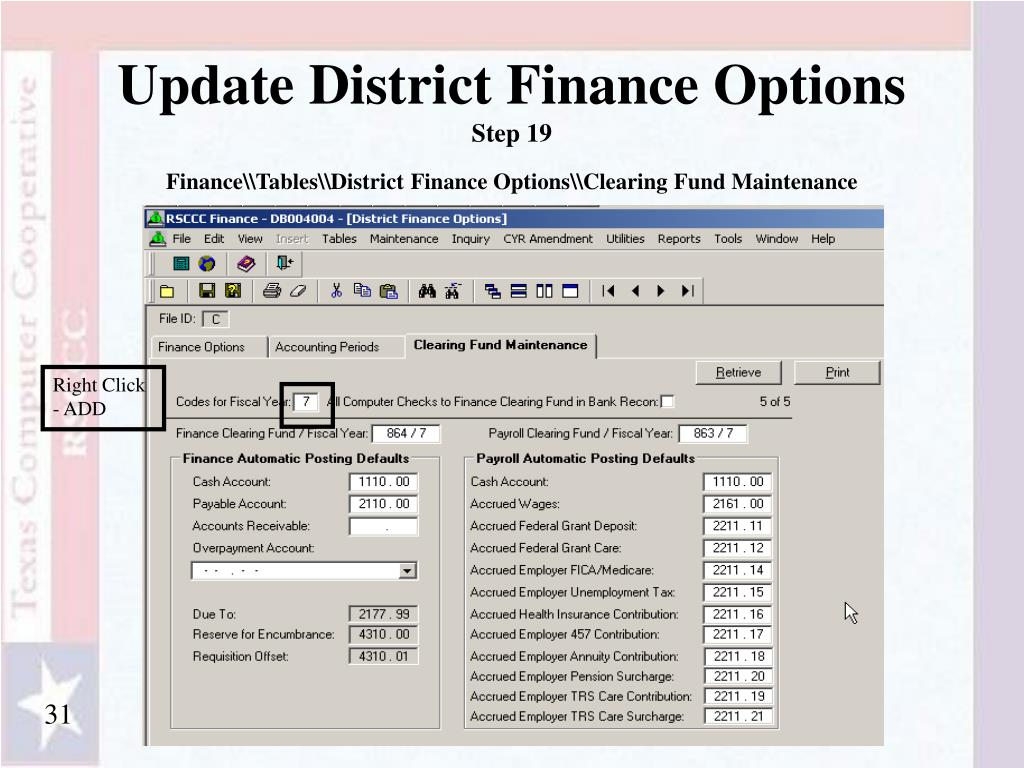 Update District Finance Options