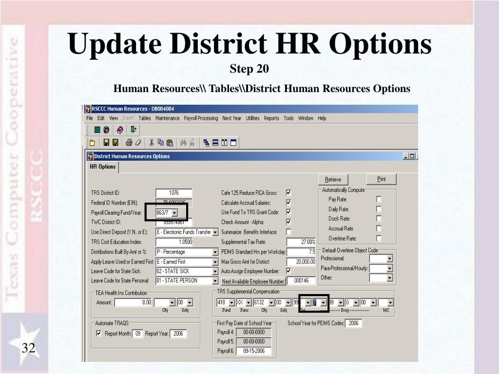 Update District HR Options