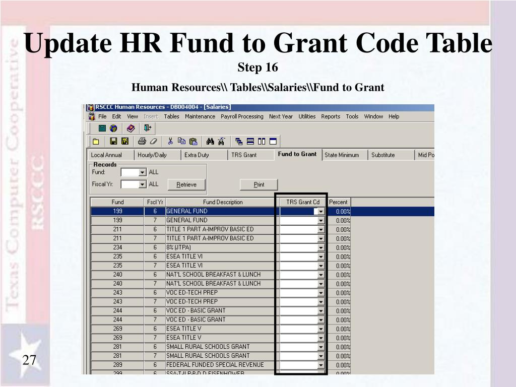 Update HR Fund to Grant Code Table