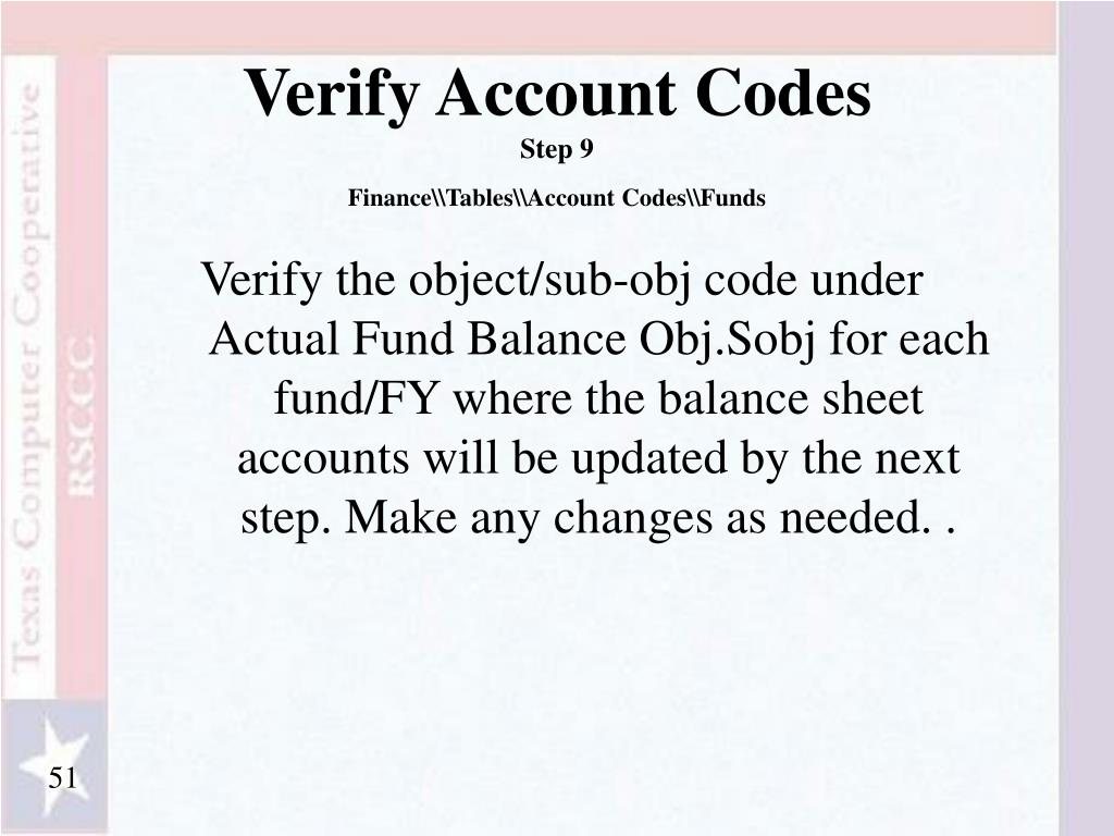 Verify Account Codes