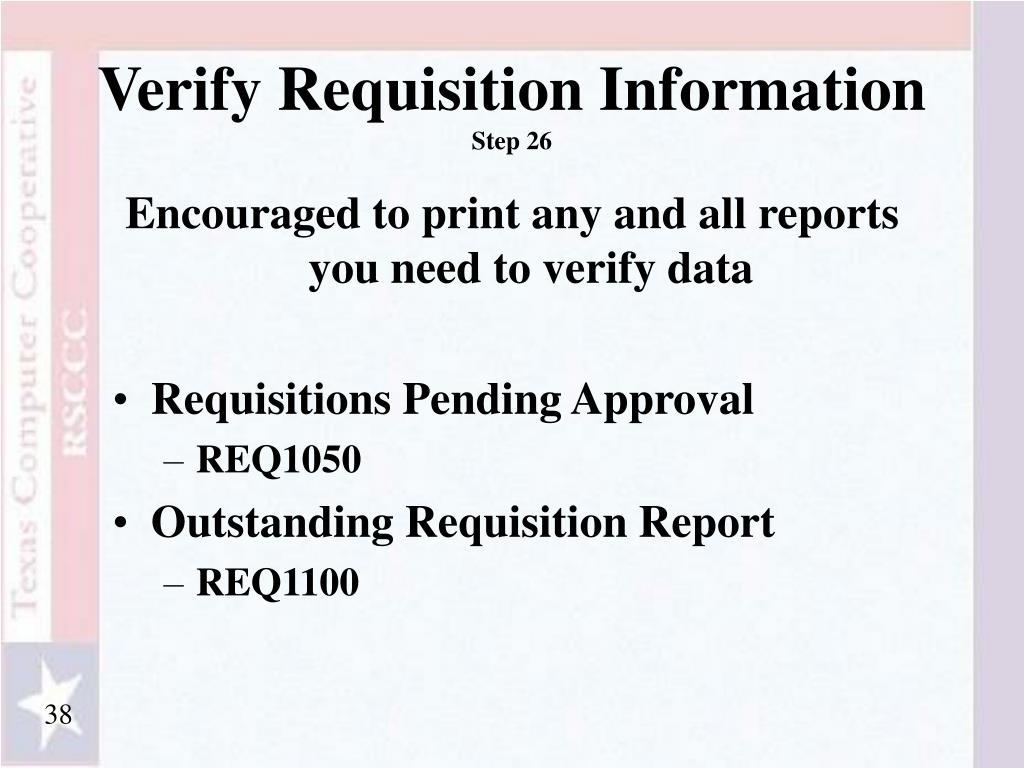 Verify Requisition Information