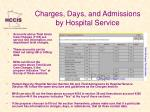 charges days and admissions by hospital service