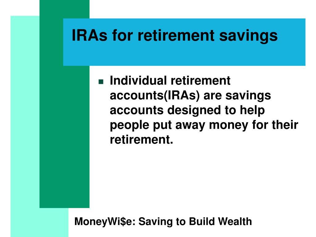 IRAs for retirement savings