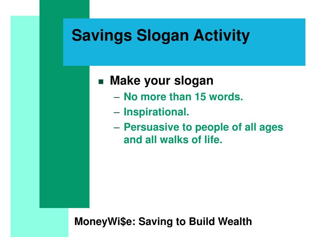 Savings Slogan Activity