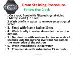 steps in gram staining procedure follow the clock