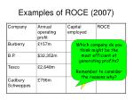 examples of roce 2007