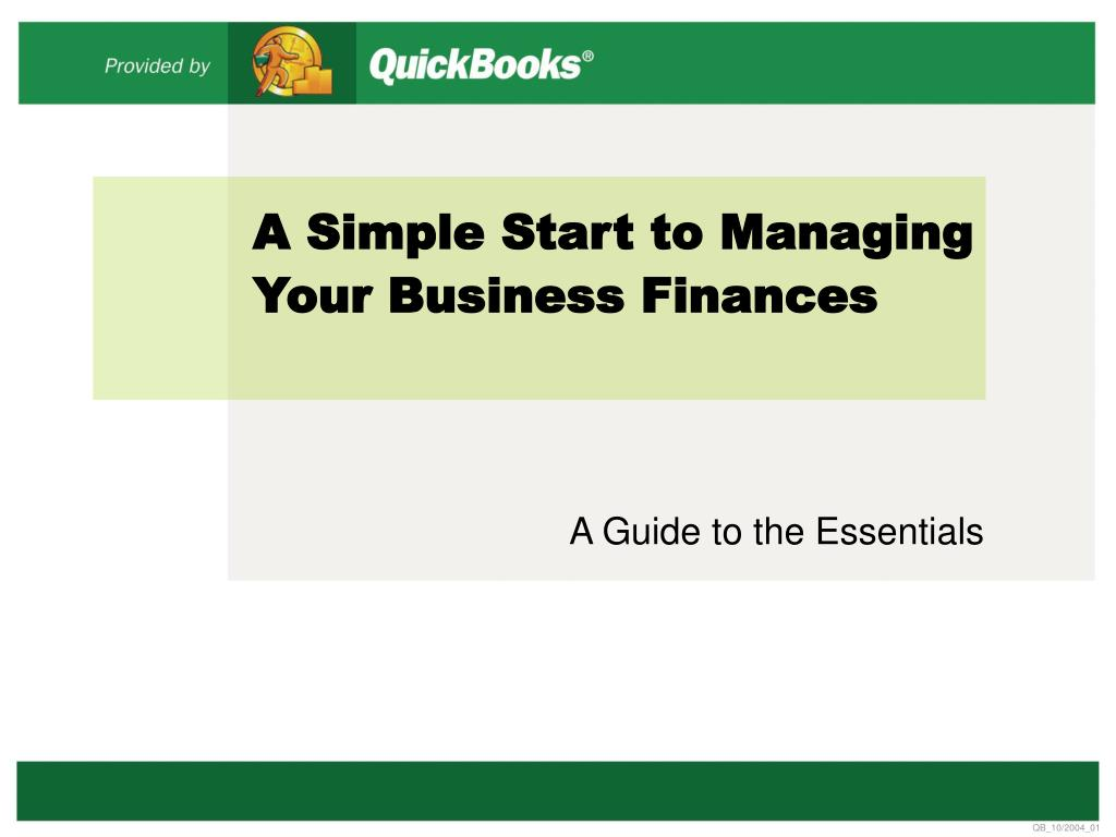 a simple start to managing your business finances l.