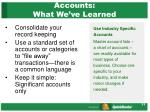 accounts what we ve learned