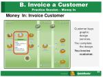b invoice a customer practice session money in