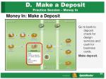 d make a deposit practice session money in