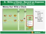 e write a check record an expense practice session money out