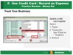 f use credit card record an expense practice session money out33