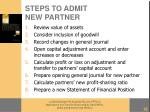 steps to admit new partner