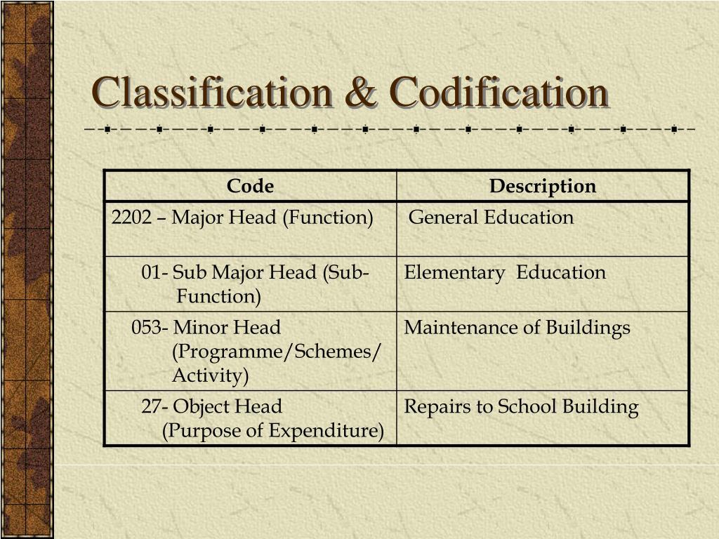 Classification & Codification
