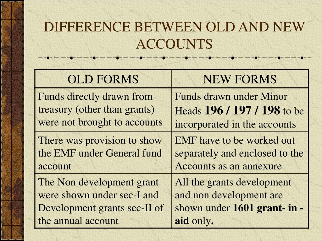 DIFFERENCE BETWEEN OLD AND NEW ACCOUNTS