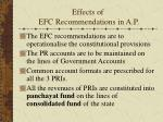 effects of efc recommendations in a p