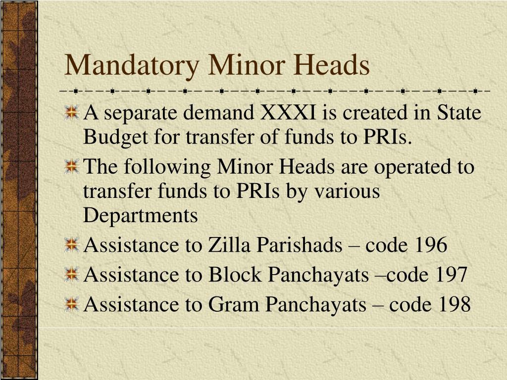 Mandatory Minor Heads