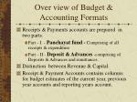 over view of budget accounting formats