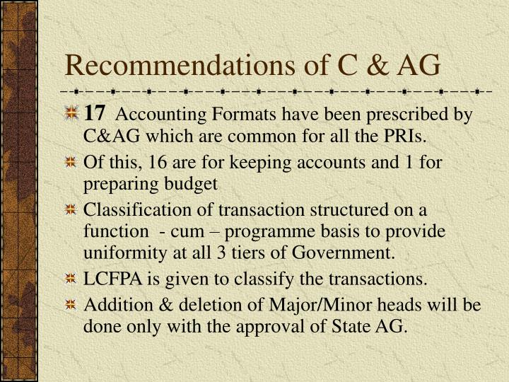 Recommendations of c ag
