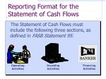 reporting format for the statement of cash flows
