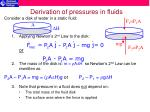 derivation of pressures in fluids