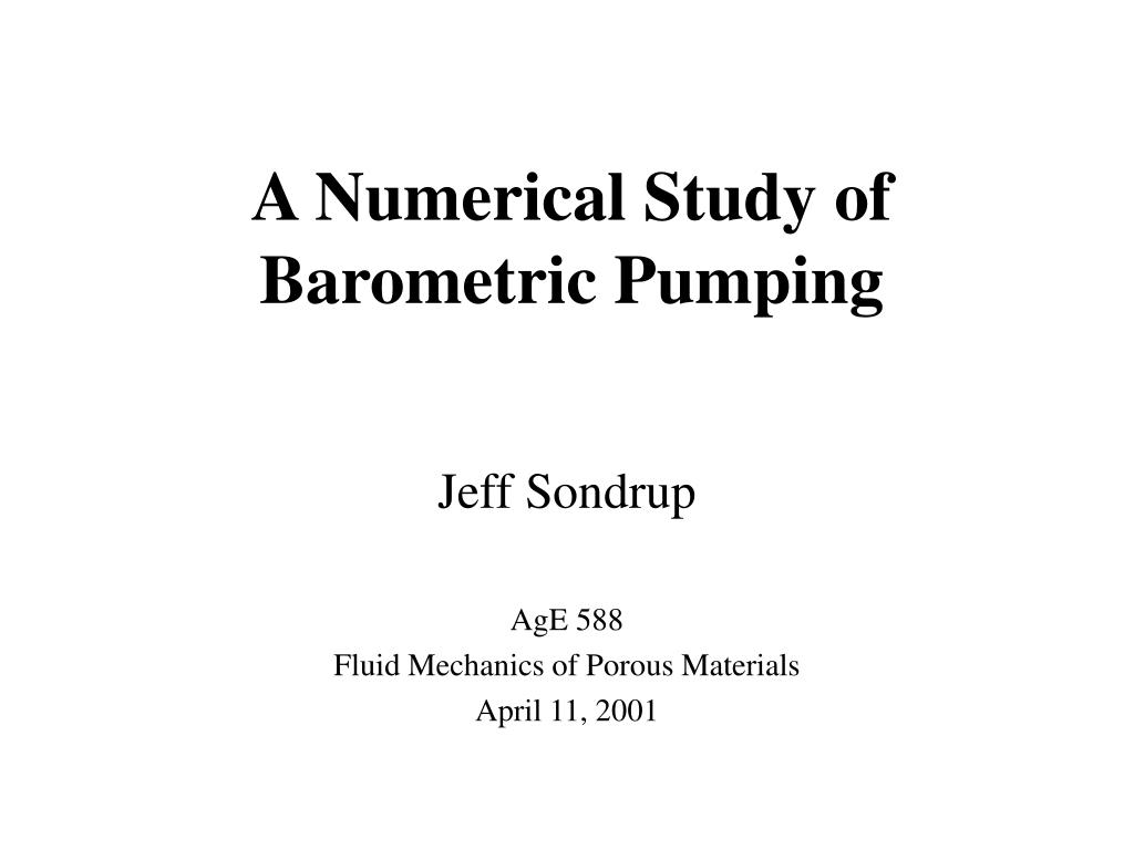 a numerical study of barometric pumping l.