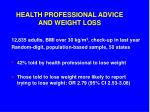 health professional advice and weight loss
