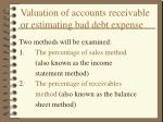 valuation of accounts receivable or estimating bad debt expense
