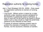 registration authority for nursing homes