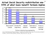 actual social security redistribution one fifth of what basic benefit formula implies