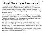 social security reform should