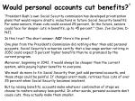 would personal accounts cut benefits