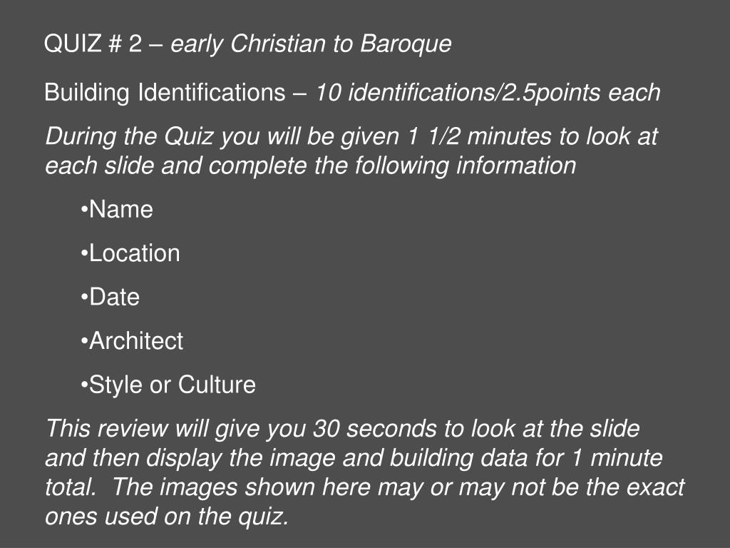 quiz 2 early christian to baroque l.