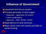 influence of government
