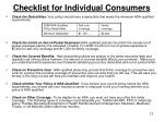 checklist for individual consumers