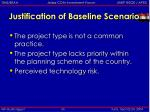 justification of baseline scenario