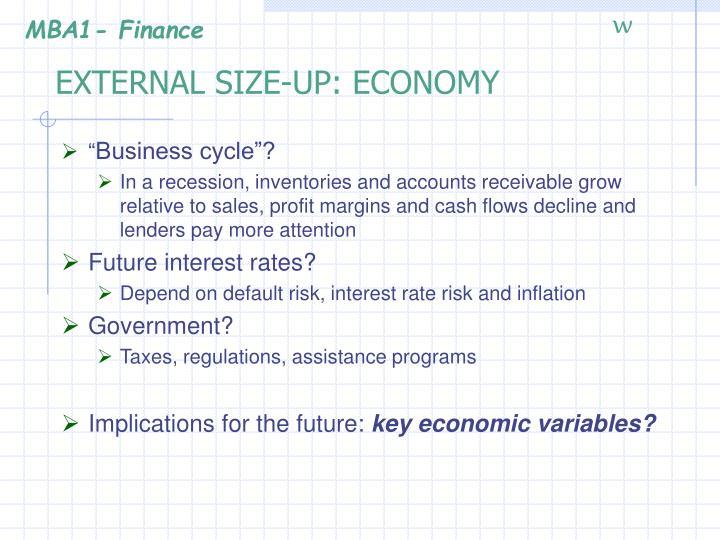 External size up economy