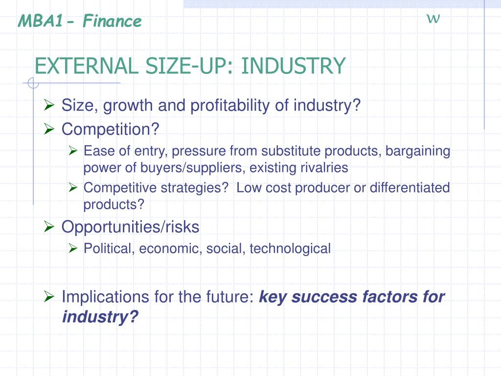 EXTERNAL SIZE-UP: INDUSTRY