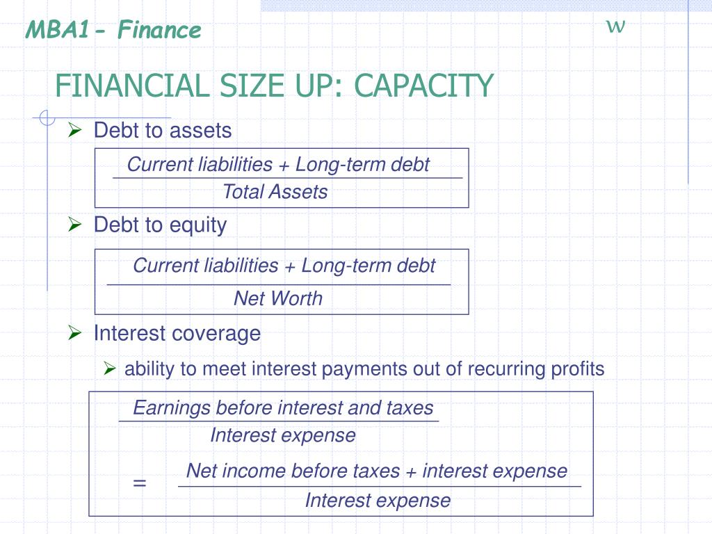 FINANCIAL SIZE UP: CAPACITY